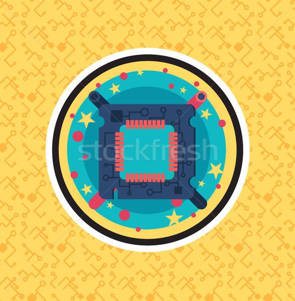 Foto stock: Computador · processador · lasca · cabo · arame · símbolo