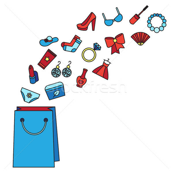 Foto stock: Mujer · cosas · cosméticos · ropa · zapatos