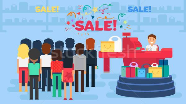 Compras ilustração armazenar clientes multidão caixa Foto stock © barsrsind