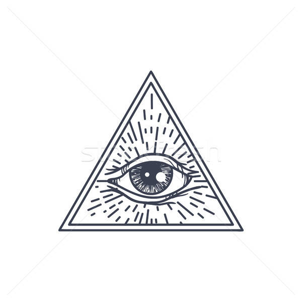 Tous oeil triangle vintage magie symbole Photo stock © barsrsind