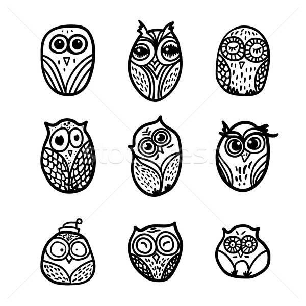フクロウ 手描き セット 面白い フクロウ 印刷 ストックフォト © barsrsind