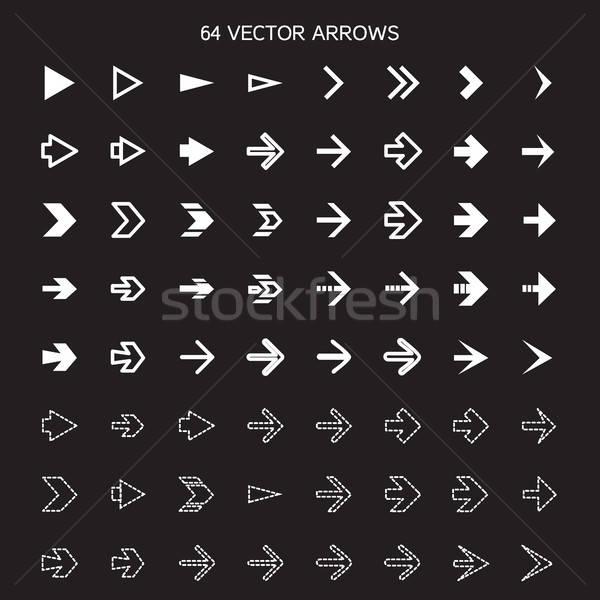 Izolált nyilak szett korábbi gombok vektor Stock fotó © barsrsind