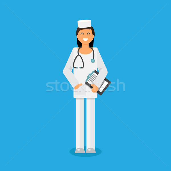 Funny doctor with stethoscope Stock photo © barsrsind