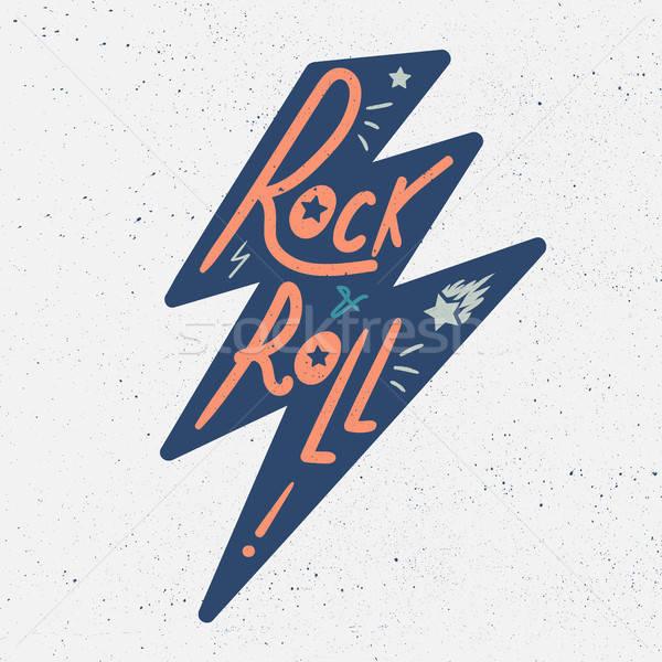 Rock toczyć tshirt naklejki wydruku tkaniny Zdjęcia stock © barsrsind