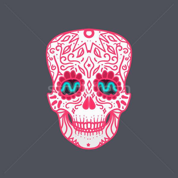 Сток-фото: мексиканских · подробный · череп · орнамент · печать · наклейку