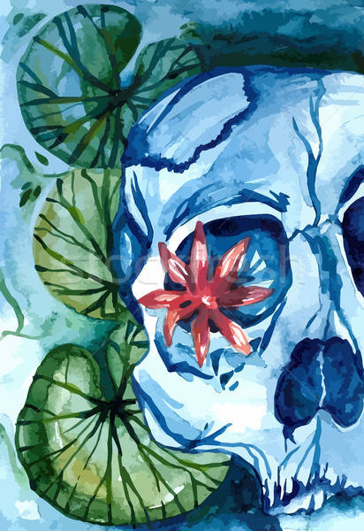 Aquarelle skull with lotus in the river Stock photo © barsrsind