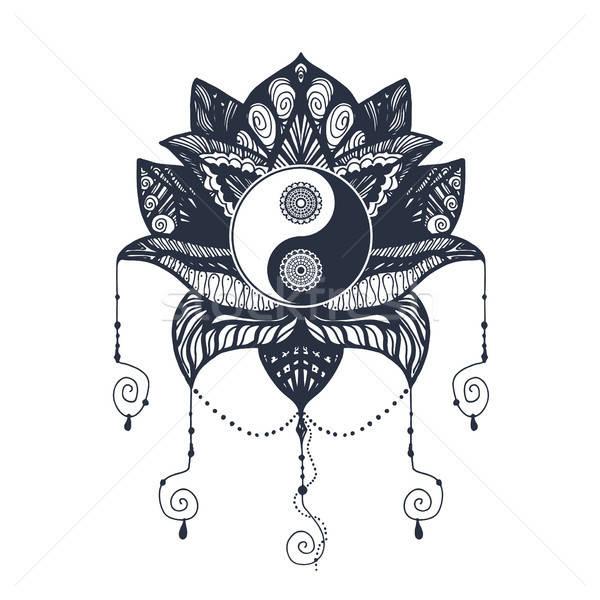 Bağbozumu yin yang lotus mandala simge baskı Stok fotoğraf © barsrsind