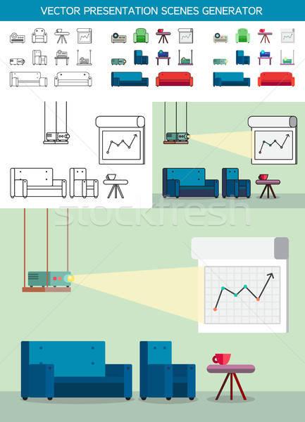 Bemutató ikonok projektor irodai munka ikon szett tábla Stock fotó © barsrsind