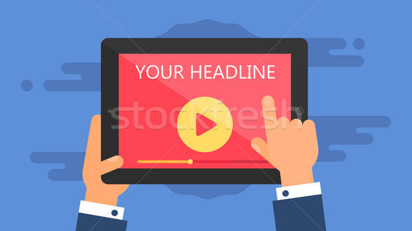 Web Template of Tablet Video Form Stock photo © barsrsind