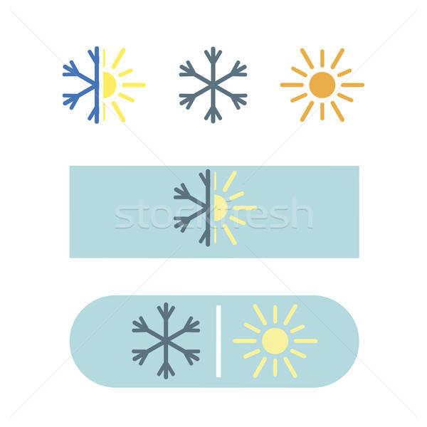 Vector aire acondicionado icono eps nieve sol Foto stock © barsrsind