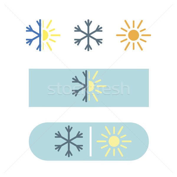 Vector airconditioning icon eps sneeuw zon Stockfoto © barsrsind