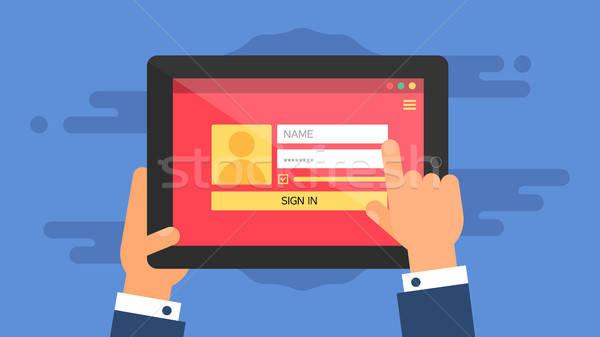 Web Template of Tablet Login Form Stock photo © barsrsind