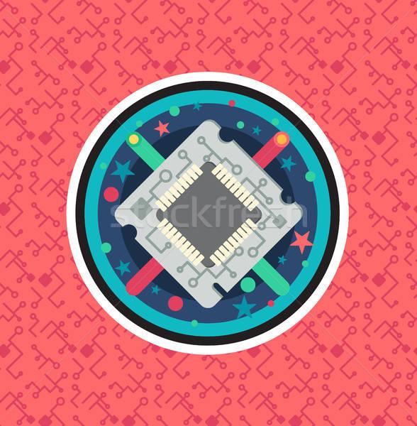 Computador processador lasca cabo arame símbolo Foto stock © barsrsind