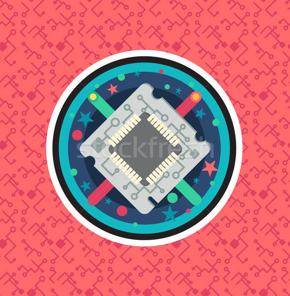 Computer bewerker chip kabel draad symbool Stockfoto © barsrsind