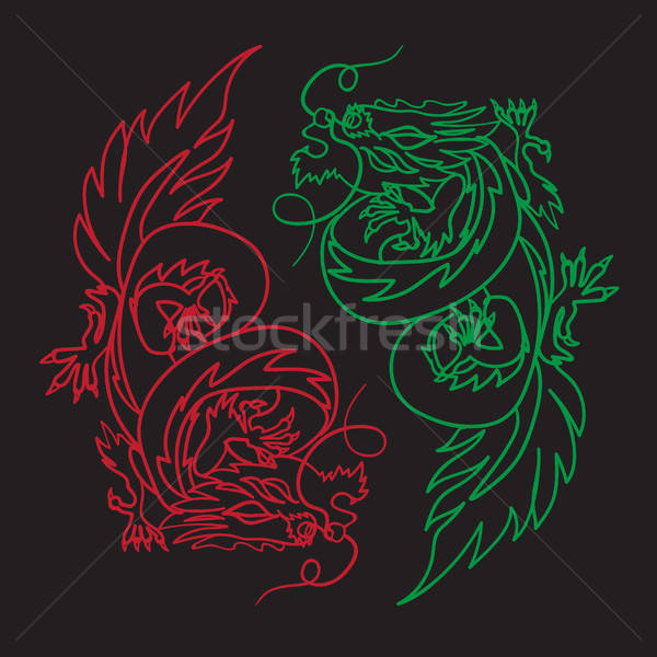 Drago cinese feng shui isolato simbolo yin yang Foto d'archivio © barsrsind
