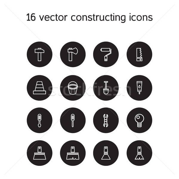 Constructing and building icons set Stock photo © barsrsind