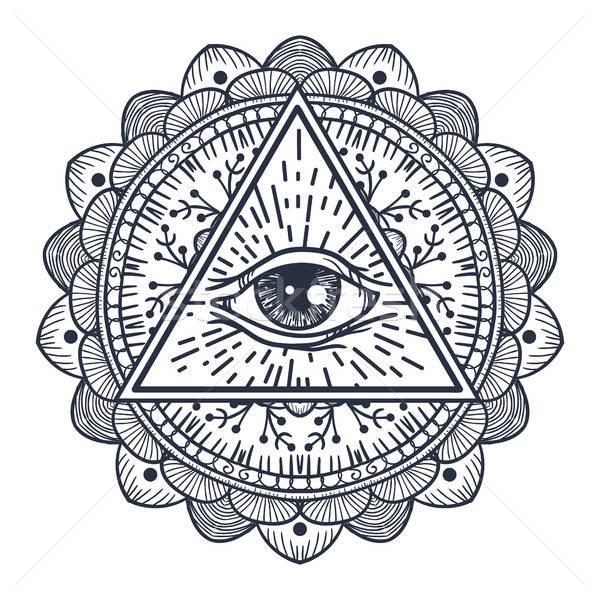 Foto stock: Olho · triângulo · vintage · mandala · magia
