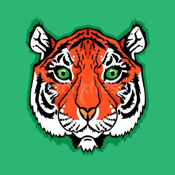 Linha arte tigre ilustração isolado cabeça Foto stock © barsrsind