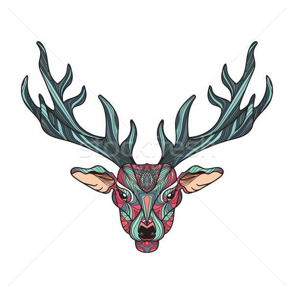 鹿 頭 明るい カラフル Tシャツ ストックフォト © barsrsind