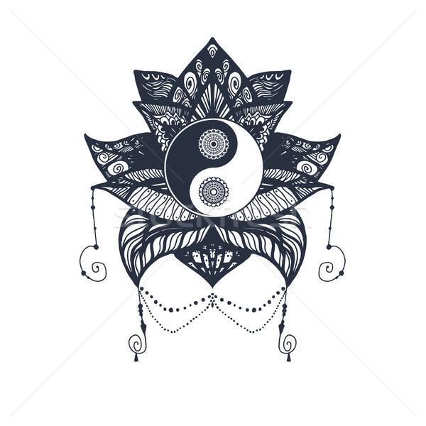 Vintage Yin and Yang in Lotus Stock photo © barsrsind
