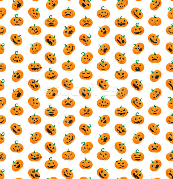 Seamless pattern from Halloween emotional pumpkins Stock photo © barsrsind