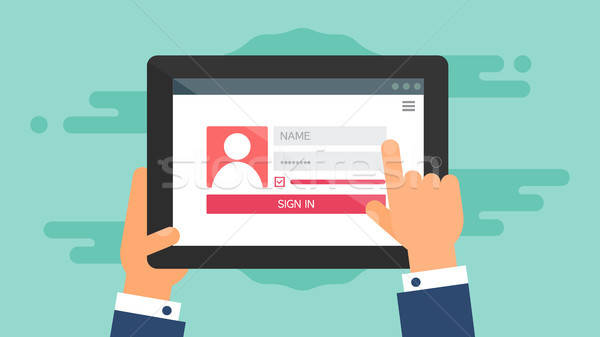 Web Template of Tablet Login Form Stock photo © barsrsind