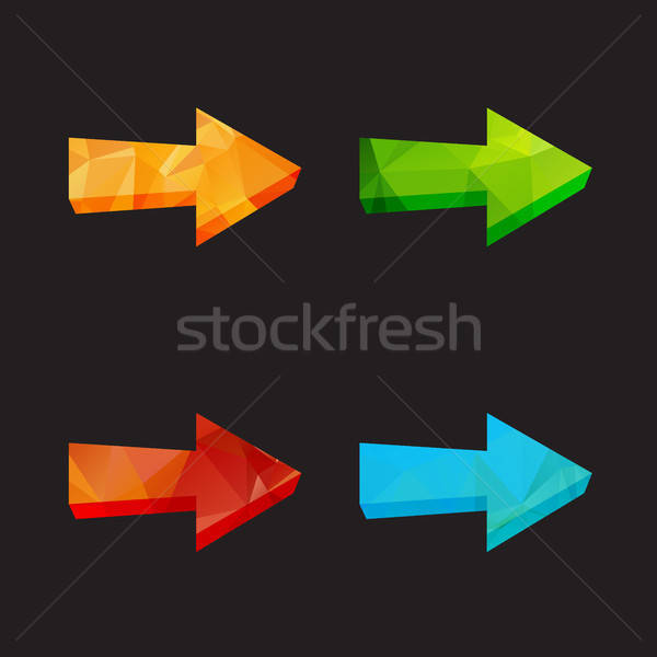 Isolated triangle polygonal arrows set Stock photo © barsrsind