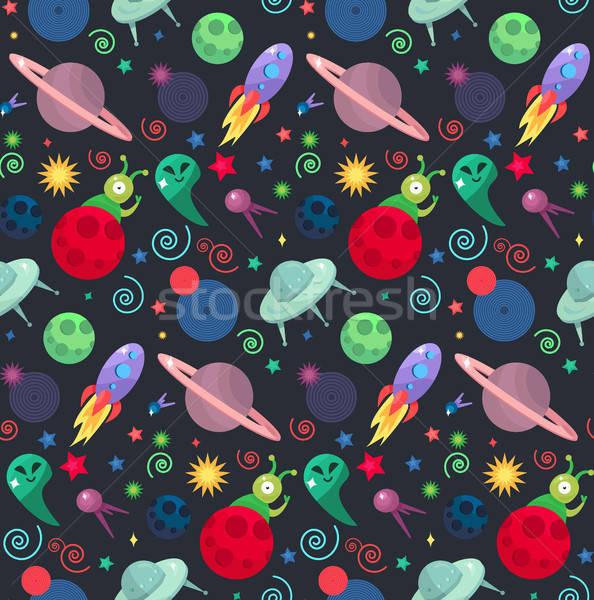 UFO minta végtelen minta csomagolás nyomtatott szövet Stock fotó © barsrsind