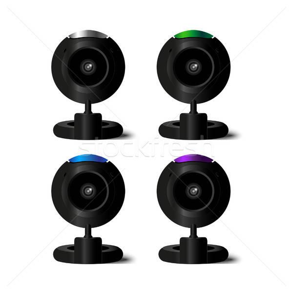 Vector web-camera: 4 colors Stock photo © barsrsind