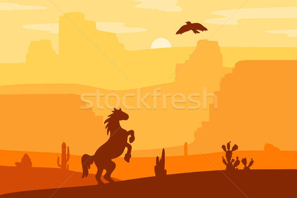 Oeste paisaje retro caballo desierto Foto stock © barsrsind