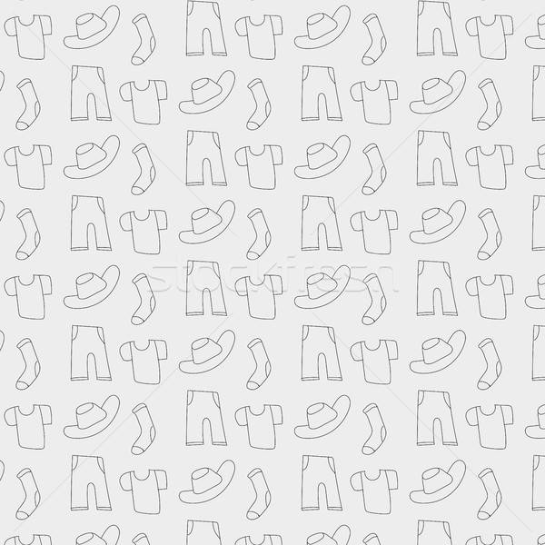 Pattern of clothes icons, background Stock photo © barsrsind