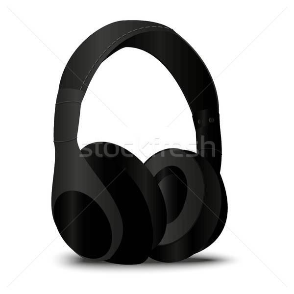 Stereo zwarte hoofdtelefoon realistisch stijl muziek Stockfoto © barsrsind