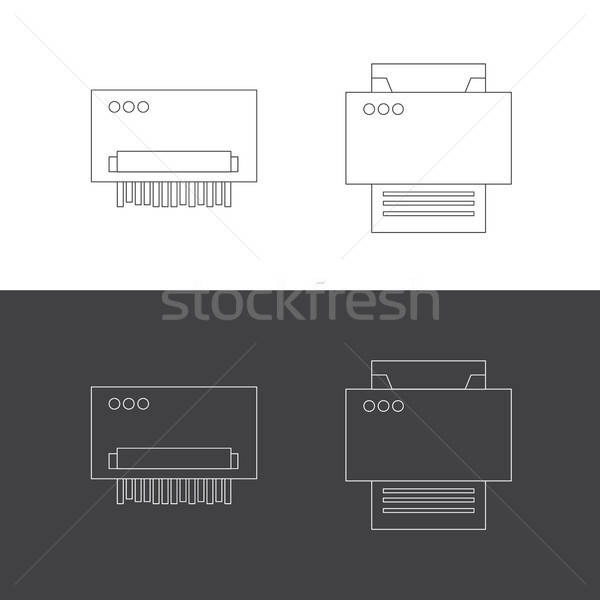 Print shredder iconen illustraties vector kantoor Stockfoto © barsrsind