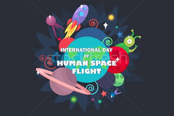 Uluslararası gün insan uzay uçuş ufo Stok fotoğraf © barsrsind