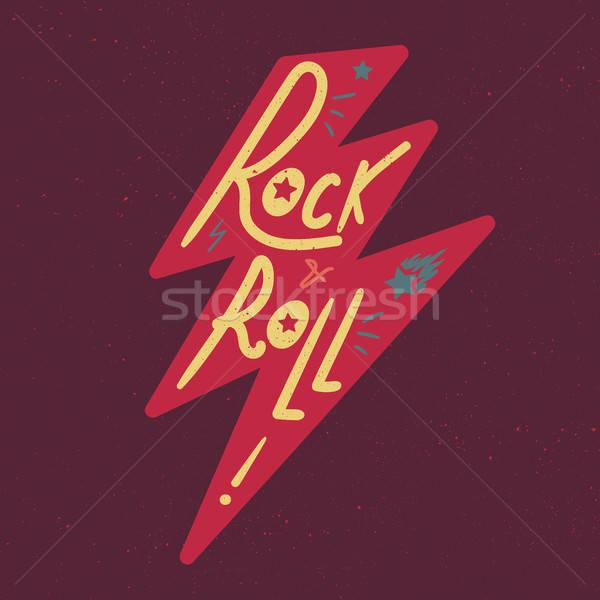 Rock rollen tshirt sticker print weefsel Stockfoto © barsrsind