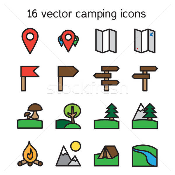 Set of camping, travelling and nature icons Stock photo © barsrsind