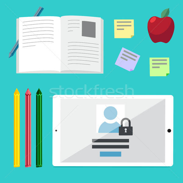 Flat illustration concepts for education, online tutorials, rese Stock photo © barsrsind