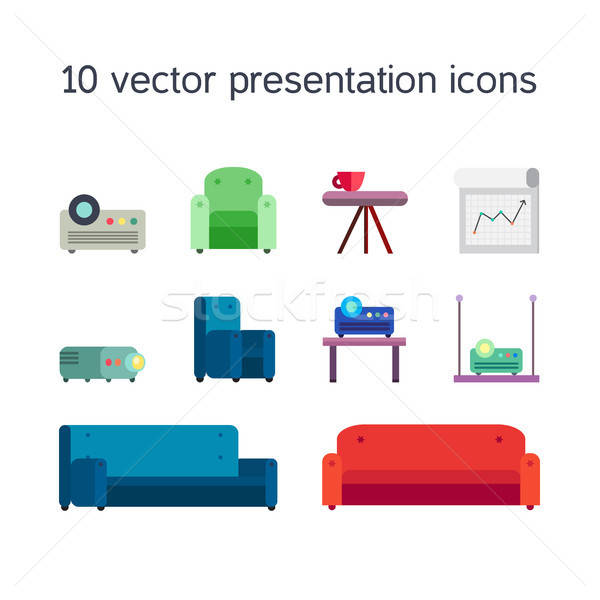 Presentation icons with projector and comfortable seats Stock photo © barsrsind