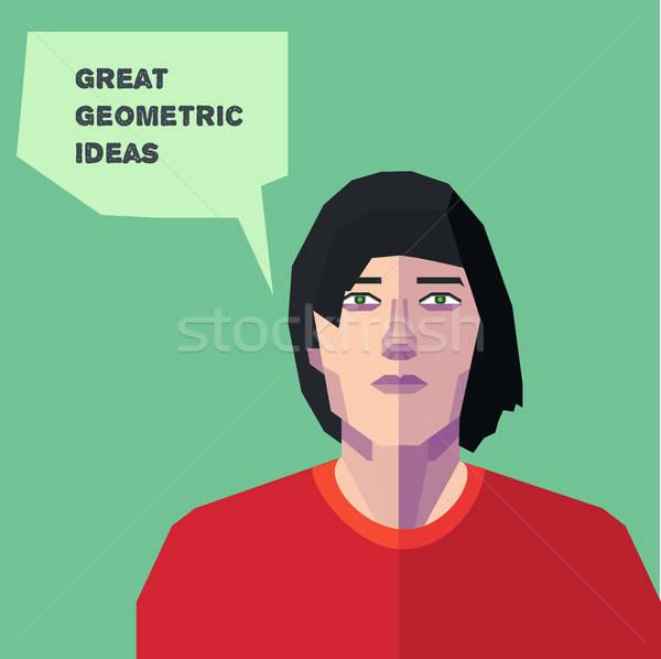 Vektör geometrik adam düşünme yaratıcı kişilik Stok fotoğraf © barsrsind