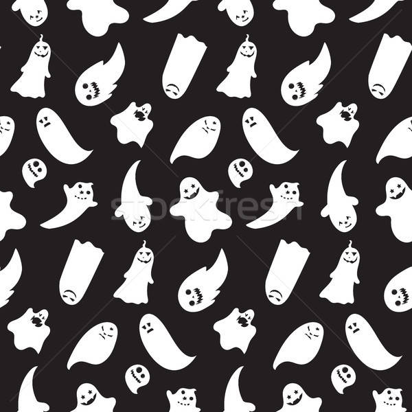 Seamless pattern from halloween emotional ghosts  Stock photo © barsrsind