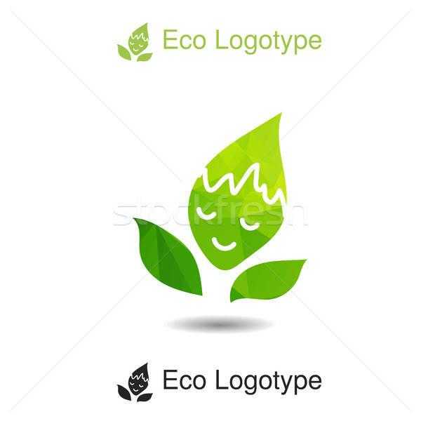 Ecology logo or icon, nature logotype with smile Stock photo © barsrsind