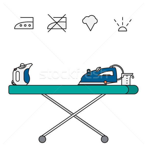 Isolated steam iron icon and beaker Stock photo © barsrsind