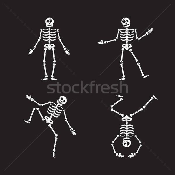 Foto stock: Feliz · halloween · esqueleto · ilustração · zumbi · ossos