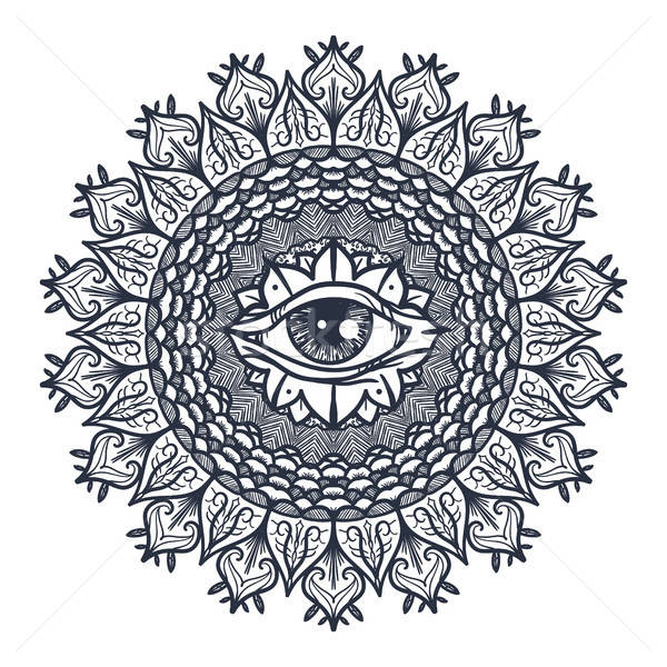 All Seeing Eye in Mandala Stock photo © barsrsind