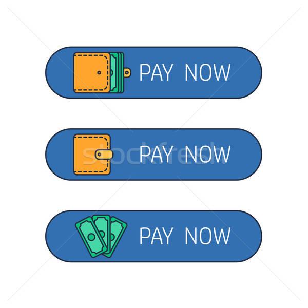Háló fizetés gomb folyamat bérlés fizetés Stock fotó © barsrsind