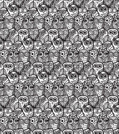 Owls hand drawn seamless pattern Stock photo © barsrsind