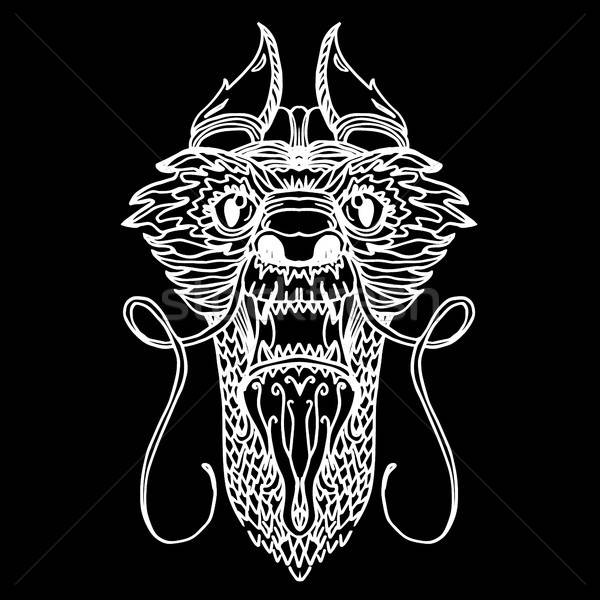 Draak hoofd tattoo cartoon stijl vector Stockfoto © barsrsind