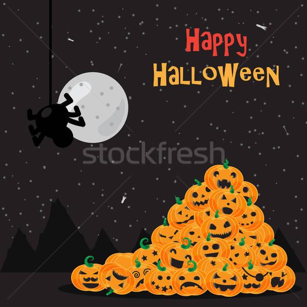 Zdjęcia stock: Halloween · plakat · pająk · księżyc · niebo
