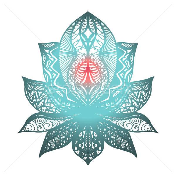 Stock fotó: Virág · lótusz · tetoválás · mágikus · szimbólum · nyomtatott