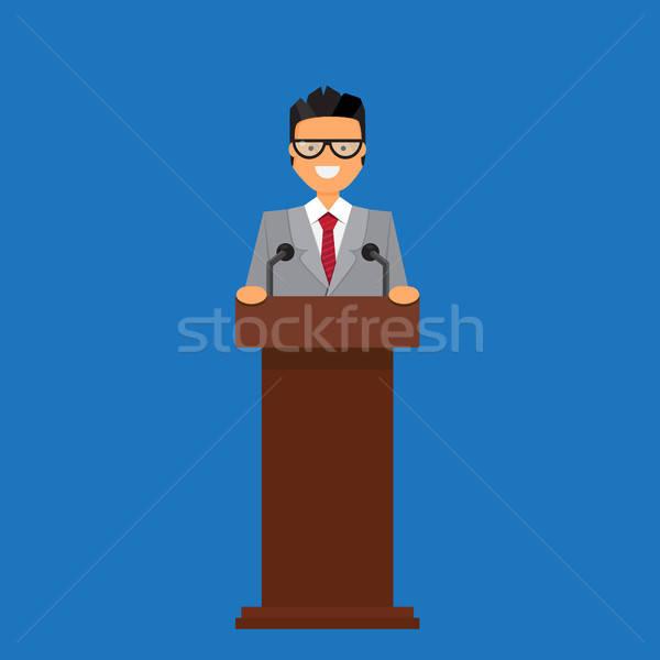 Profesör işadamı konuşma podyum vektör iş Stok fotoğraf © barsrsind